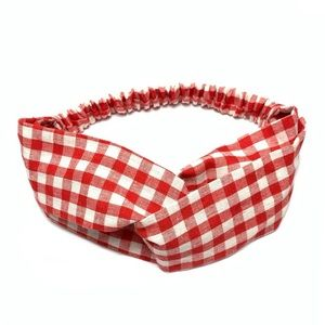 Red & White Buffalo Check Plaid Boho Headband